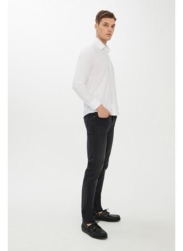 Kiğılı Uzun Kol Desenli Slim Fit Gömlek Beyaz